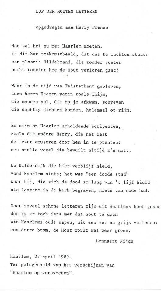 Vers van Lennaert Nijgh: 'Lof der Houten Letteren' opgedragen aan Harry Prenen, 1989