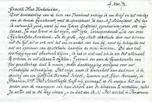 Brief van Harry Prenen aan Bert Koekebakker, initiatiefnemer van het Godfried Bomans Genootschap