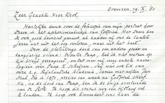 Schrijven van Harry Prenen aan Hans Krol, 19 oktober 1981.