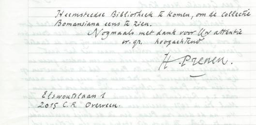 Vervolg schrijven van Harry Prenen aan Hans Krol, 19-10-1981