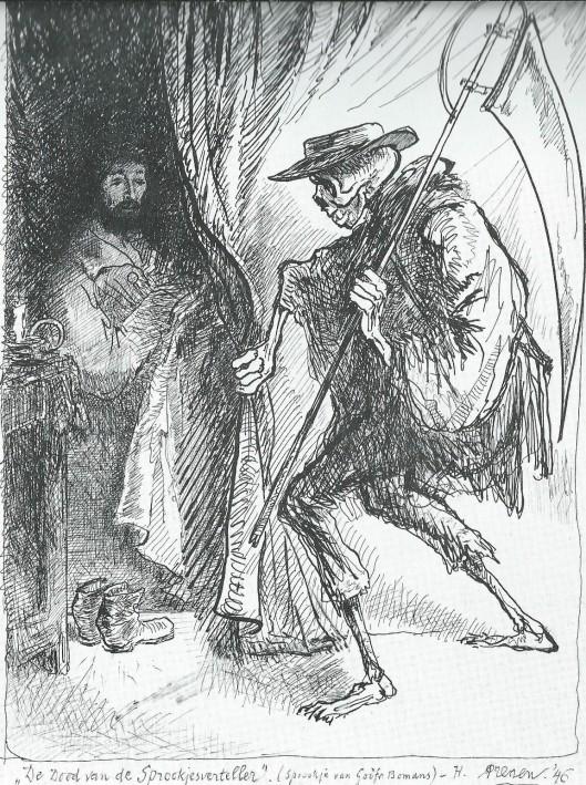 Illustratie bij 'de Dood van een Sprookjesverteller' van Godfried Bomans door Harrie Prenen. Pentekening uit 1946