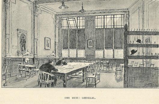 Leeszaal van 'Ons Huis' in Amsterdam; door Antoon Molkenboer