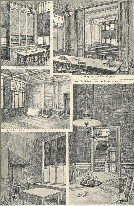 Tekeningen van 'Ons Huis' aan de Rozenstraat/Pringengracht Amsterdam door Antoon Molkenboer. 1892, Bibliotheek; Cursuszaal met verstelkamer; Gymnastiekzaal; Keuken; Clubkamer en gezicht op de hoofdtrap