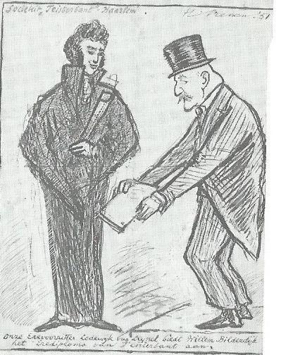 Tekening van Harry Prenen uit 1951. Lodewijk van Deyssel biedt op verzoek van Godfried Bomans aan Willem Bilderdijk, die zich graaf van Teisterbant noemde, het erediploma van Teisterbant aan.
