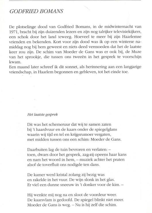 'Het laatste vers' Door Harry Prenen in herinnering aan zijn vriend Godfried Bomans geschreven sonnet. (Uit: Haarlem in verzen, 1989).