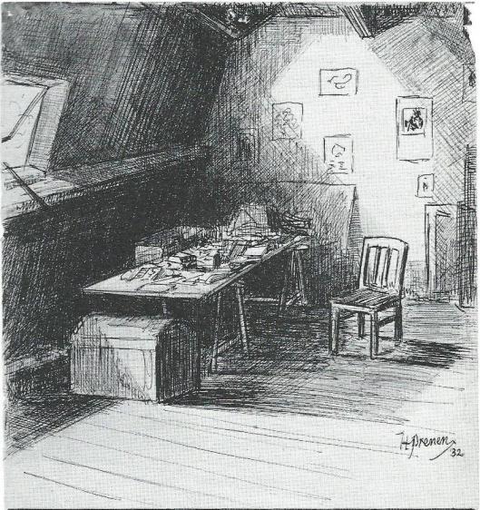 Tekening van Harry Prenen van zijn zolderkamer in de Cronjéstraat, waar hij als gymnasiast studeerde en gelegenheidsverzen schreef. (Uit: Haaelem op versvoeten, 1989).