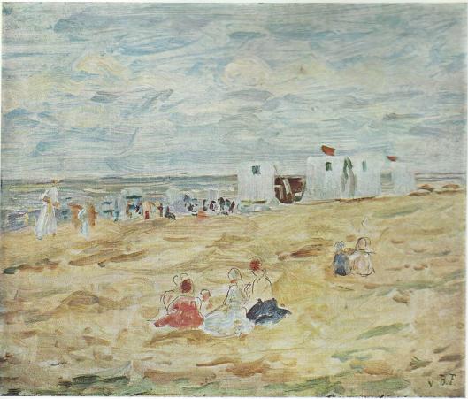 Louis Hartz: Strand met badkoetsjes en baders (Gemeente Heemstede)