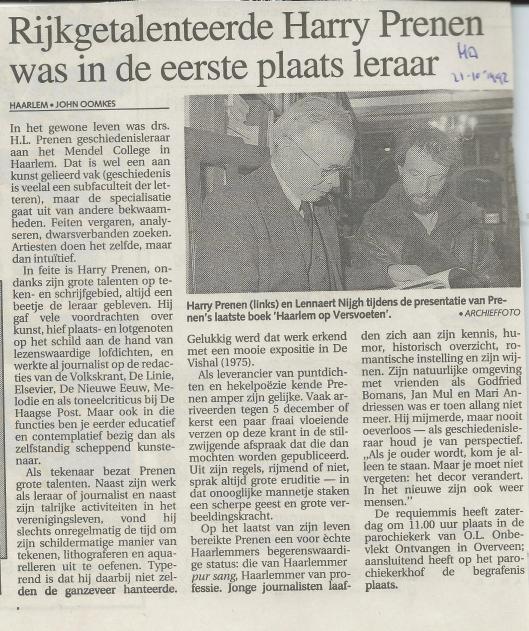 Necrologie Harry Prenen door John Oomkes. Uit: Haarlems Dagblad van 21 oktober 1992.
