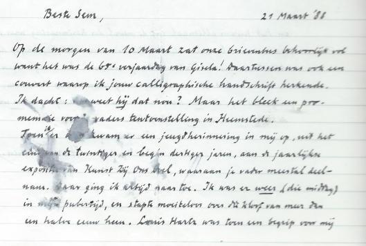 Brief van Harry Prenen aan graficus Sem Hartz, 21 maart 1988