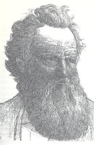Portret van graficus en kunstenaar William Morris. Litho door A.Molkenboer. Uit De Kroniek van 18 oktober 1896