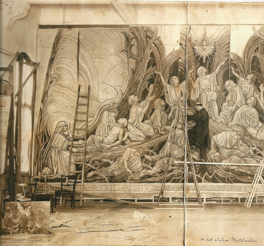 In 1927 werkte Antoon Molkenboer aan het grote cholera-mozïek in de Antonius Abt-kerk van Scheveningen