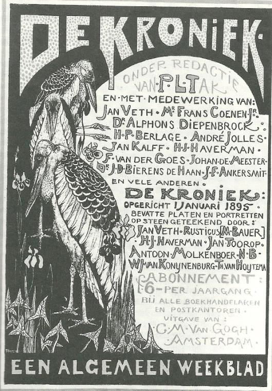 Prospectus voor 'De Kroniek' Steendruk door Theo van Hoytema