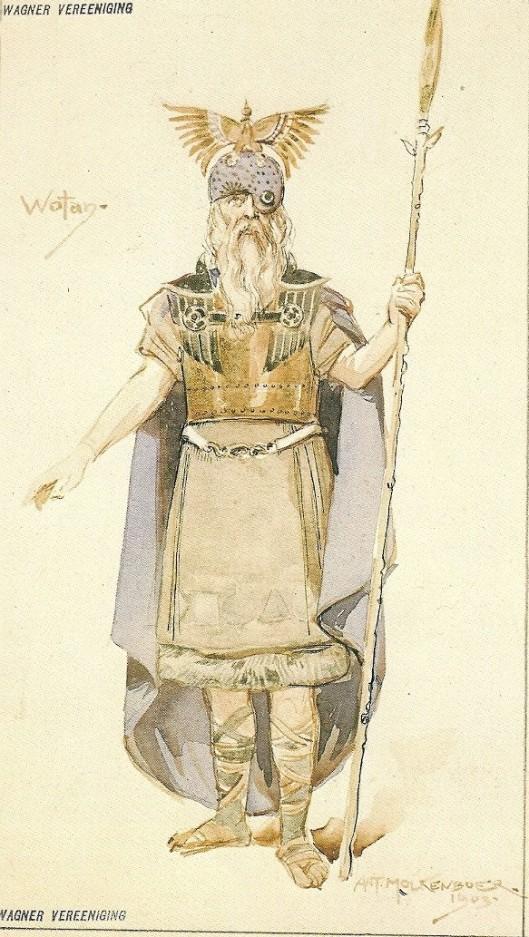 Kostuumontwerp voor Wotan, uit 'Die Walküre', aquarel uit 1903