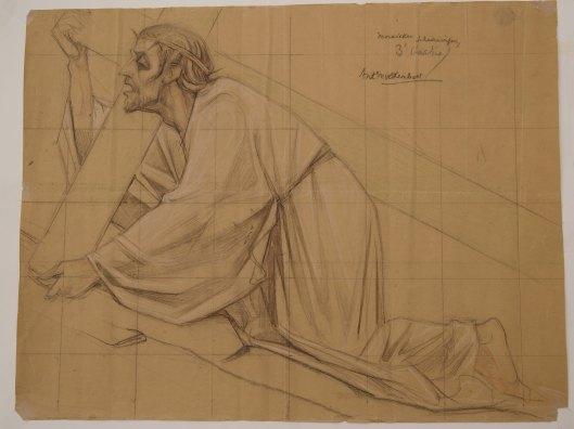 Ontwerptekening voor derde kruiswegstatie door Antoon Molkenboer, 1928