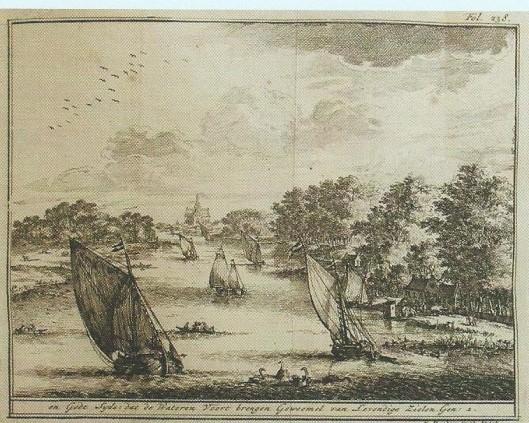 C.Decker. Gezicht op  het Z.B.Spaarne. Uit: Jan van Westerhoven Jr. 'Den Schepper verheerlijkt in den Schepzelen' (1737)