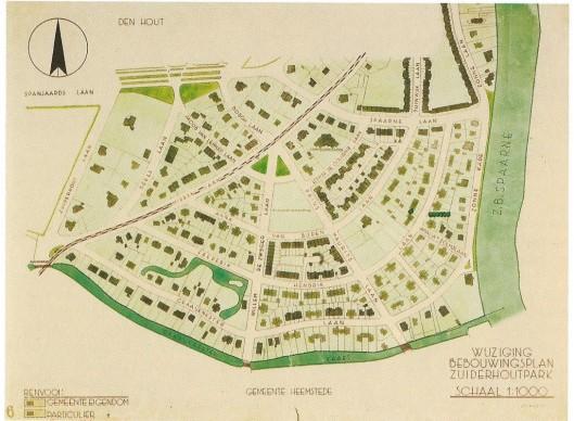 Ontwerp van het Zuiderhoutpark, tot de annexatie van1927 deel van de gemeente Heemstede