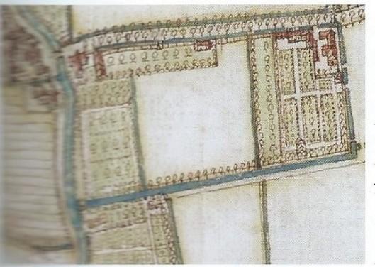 Uitsnede kaart van ambachtsheerlijkheid Heemstede door Balthasar Floriszoon van Verckenrode uit 1643. Rechtsboven is Zuiderhout ingetekend en daarboven de Gasthuislaan met kort voor het Blauwbruggetje de buitenplaats Middellaan