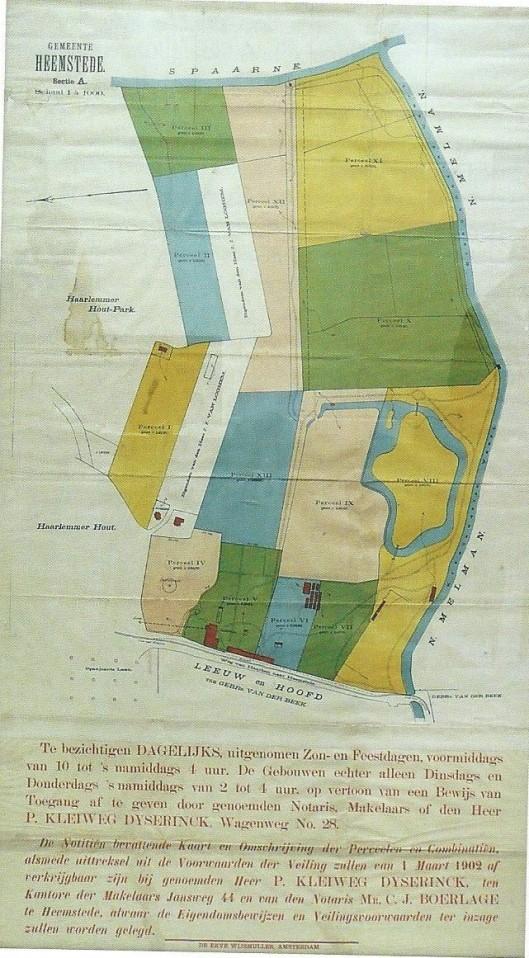 Plattegrond van de toen nog in Heemstede gelegen buitenplaats Zuiderhout uit 1902 [zie: boek Zuiderhout van Klaas de Jong].
