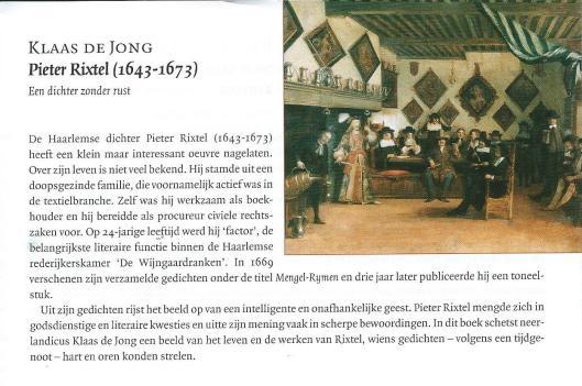 Pieter Rixtel. Uit: gids van uitgeverij Verloren, najaar 2015.