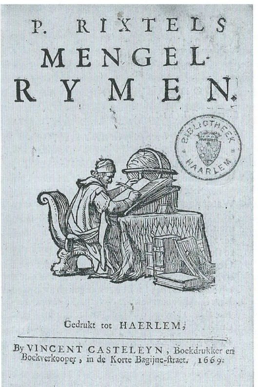Titelpagina van 'Mengel-Rymen' door Pieter Rixtel, 1669.