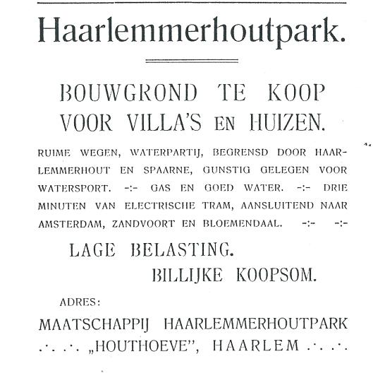 Advertentie 'Villapark Zuiderhout te Heemstede' uit: Gids voor Haarlem en omstreken, 1906