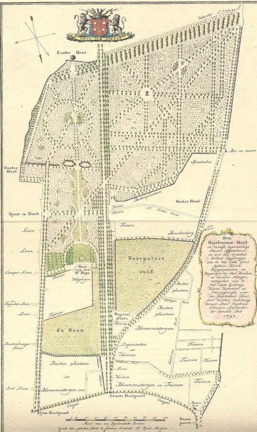Kaart van de Haarlemmerhout uit 1791, getekend door de Haarlemse landmeter Jan Engelman en gegraveerd door Jan van Jagen (circa 1710-na 1796)