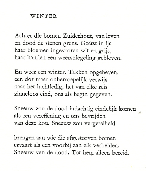 'Winter', één van 4 gedichten Heemstede door F.L.Bastet. In serie: Noord-Holland in proza, poëzie en prenten. Stichting Culturele Raad Noord-Holland, 1991.