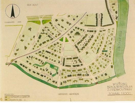 Ontwerpkaart van het Zuiderhoutpark, voor 1 mei 1927 toen nog deel uitmakend van de gemeente Heemstede