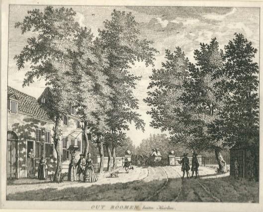 De herberg 'Out Roomen' buiten Haarlem'. Anonieme ets. Van deze gravure maakte de Duitse graveur G.Eichler (1715-1770) een reproductie in spiegelbeeld.