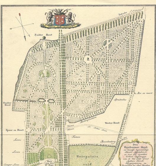 Deel van kaart Haarlemmerhout met ligging van Sparenhout door Daniel Engelman (1793)