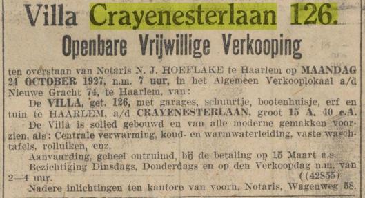Adv. van verkoop villa Crayenesterlaan 126 Haarlem. Het huis werd niet meteen verkocht omdat het bod van nog geen ƒ30.000,- te laag werd geacht en in 1928 is de echtgenote Felicita Struben overleden. In 1929 is Struben verhuisd naar Den Haag en is het pand gekocht door ingenieur A.G.de Koningh, chef van de centrale werkplaats der Nederlandse Spoorwegen in Haarlem, die hier tot 1960 bleef wonen.