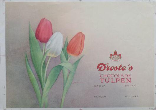 Reclame proefdruk Droste's chocolade tulpen (litho door Dirk Harting)