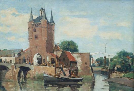 Schilderij van poortgebouw Zierikzee door Herman Heuff