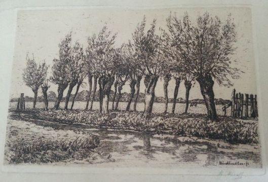 Ets van het Binckhorstlaantje voor de bebouwing in Den Haag (?) door Herman Heuff, circa 1925