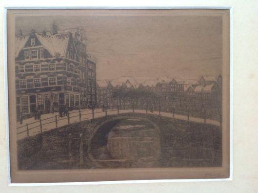 Ets van Gezicht bij de Herengracht; door Herman Heuff