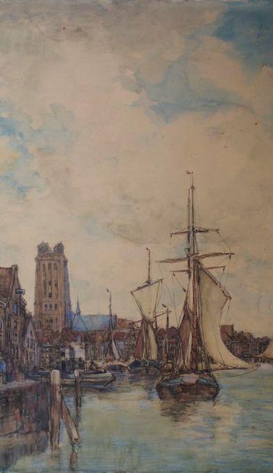 H.D.Heuff. Aquarel van: Gezicht op de haven van Dordrecht