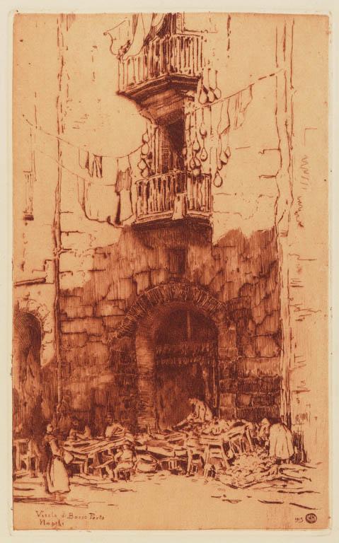 Herman Heuff: gravure van Vicolo di Basso Porto in Napels (1913)