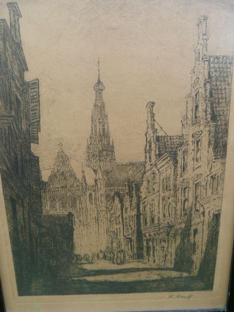 Ets door Herman Heuff van de oude St. Bavo in Haarlem