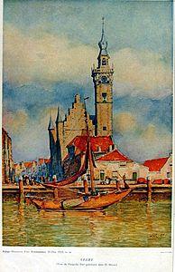 Stadsgezicht Veere door Herman Heuff (bijlage Haagsche Post, Kerstnummer 25 december 1923)