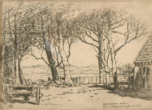 Ets van boerderij Boor in Schouwen, Zeeland, door Herman Heuff, october 1925