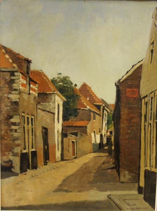 Schildereij van een straatje, Beddeeeg, Zierikzee, door Herman Heuff.