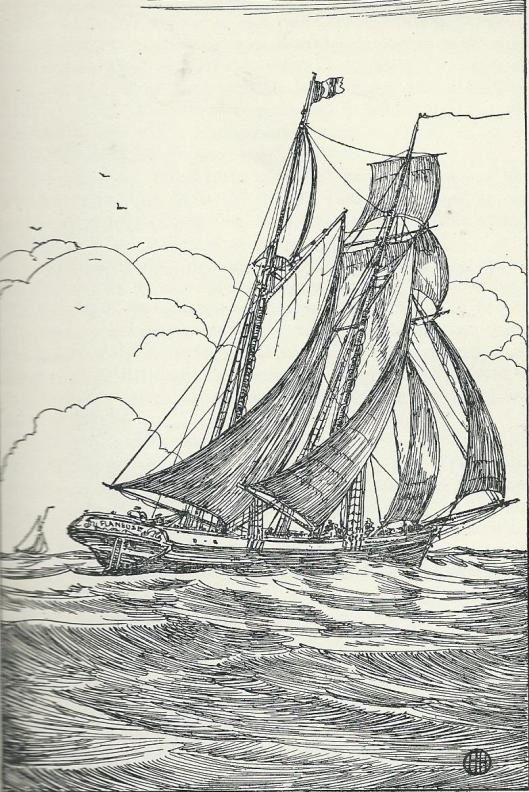 Illustratie van een schoener door Herman Heuff in het boek 'Hoe Karel zeeman werd.'