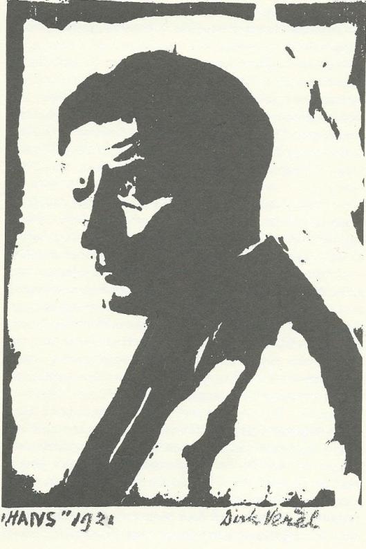 Houtsnede door Dirk Verèl van Hans de Bock (zoon van de kunstenaar Théophile de Bock) uit 1921