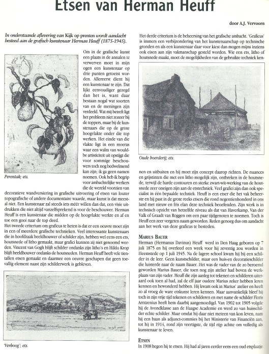 A.J.Vervoorn: Etsen van Heuff. Uit: Boekenpost, nr. 54, juli/augustus 2001.