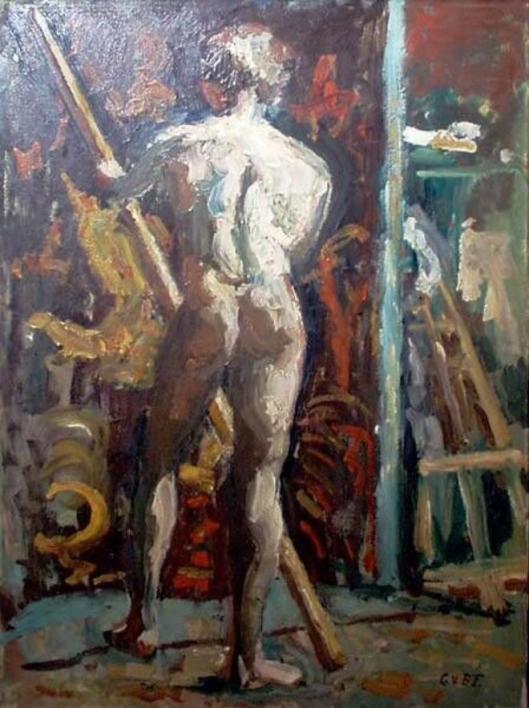 Staand mannelijk naakt op de rug gezien met stok in de handen. Frans Hans Museum Haarlem.