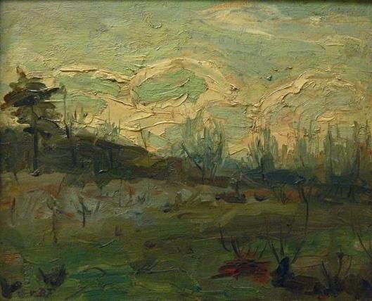 G.H.G.von Brucken Fock: landschap met wolkeneffect. In bezit van het Frans Hals Museum
