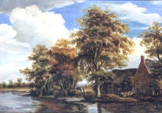 G.H.G.von Brucken Fock; aquarel van boerderij aan het water