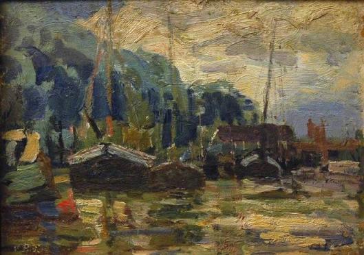 G.H.G.Brucken Focck: Riviergezicht met schepen. Frans Hals Museum
