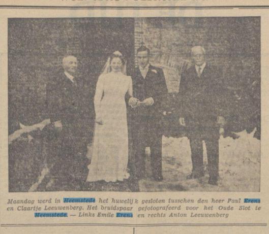 Huwelijk van (zoon) Paul Erens met Claartje Leeuwenberg in Heemstede. Links Emile Erens. Foto genomen bij het Oude Slot uit dagblad De Tijd van 7 februari 1940