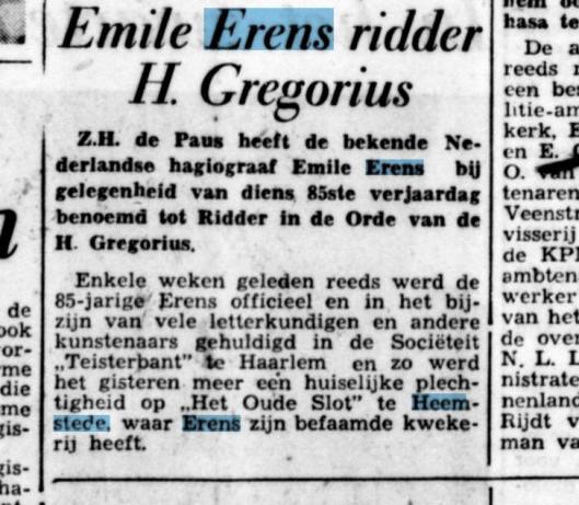 Emile Erens ridder kerkelijke orde H.Gregorius. Uit: De Tijd van 11 juli 1950